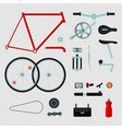 bike details isolated on white bicycle parts vector image