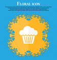 cake icon Floral flat design on a blue abstract vector image