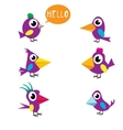 Cute birds collection vector image