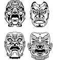 Japanese Noh Theatrical Masks vector image