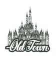 old town Cartoon hand drawing houses vector image