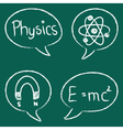 physics icons speech bubbles school table vector image