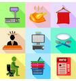 supermarket promotion icons set flat style vector image