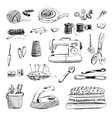 set of hand drawn sewing and embroidery tools vector image