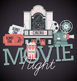 Movie Night Icon Set vector image
