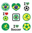 Brazilian flag football or soccer ball icons set vector image