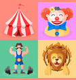 clown strong mantrained lion circus tent vector image
