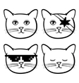 Cute icons with cats animal Children linear vector image
