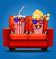 popcorn and soft drink wear 3D glasses vector image