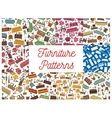 Furniture seamless patterns for interior design vector image vector image