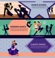 colorful dancing people horizontal banners vector image