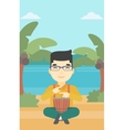 Man playing ethnic drum vector image