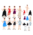 Female avatar with dresses and shoes vector image
