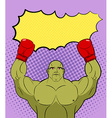 Green big Boxer Monster pop art with an empty vector image