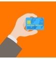 Hand holding the credit card vector image