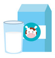 milk box with glass vector image