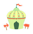 yellow and green circus tent part of amusement vector image