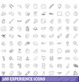 100 experience icons set outline style vector image vector image