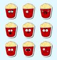 cartoon popcorn cute character face sticker vector image