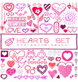Set of colorful heart shaped icons vector image