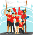 Group of Fans Cheering with Foam Finger Vuvuzela vector image