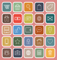 Ecommerce line flat icons on red background vector image vector image