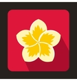 Frangipani flower icon in flat style vector image