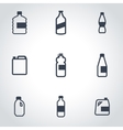 black bottles icon set vector image