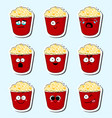 cartoon popcorn cute character face sticker vector image