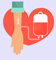 hand with a blood donation bag and tube on the vector image
