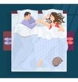Sleeping man and woman in bad at night near window vector image
