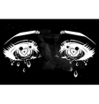 Crying eyes in anime or manga style vector image