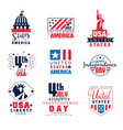 united states of america logo templates set 4th vector image