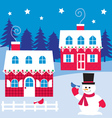 houses and snowman vector image