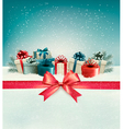 Christmas background with a bow and presents vector image