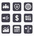 Business signs Graph chart and globe icons vector image