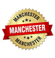 Manchester round golden badge with red ribbon vector image