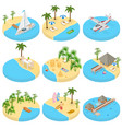 beach vacation set icons 3d isometric view vector image