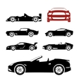 Detailed sportcars silhouettes set vector image