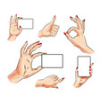 female hand with card and hand gesture icon vector image