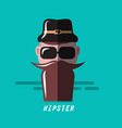 hipster cartoon flat design retro hipster vector image