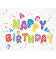 Happy birthday greetings with gift box and confett vector image