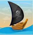 Sail boat with pirate symbol on a sunset vector image