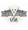 vintage label hand drawn crossed usa flags happy vector image