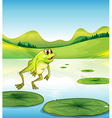 A pond with a frog jumping vector image