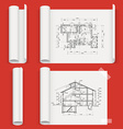 Set of sheets a different form with drawing house vector image