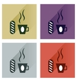 Modern flat icons collection cup of coffee vector image