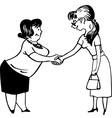 Two young women shaking hands vector image vector image