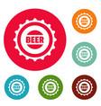 beer cap icons circle set vector image
