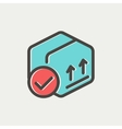 Box with validation mark thin line icon vector image